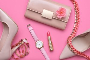 Fashion Design Woman Accessories Set. Pastel Colors.Cosmetic Makeup.Trendy Sunglasses fashion Handbag Clutch clothes. Glamor fashion shoes Heels. Luxury Watch.Summer lady. Creative Urban. Art. Minimal